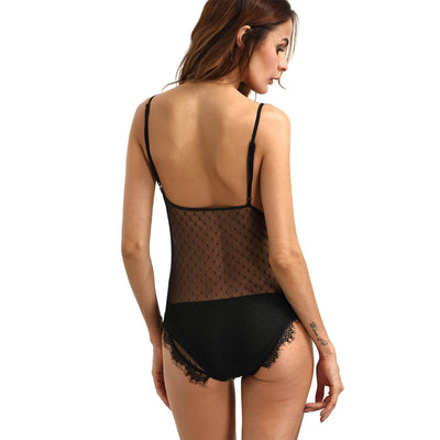 BEL0028 - Sexy Sheer Lace Lingerie Mesh Backless Bodysuit
