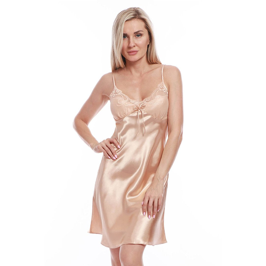 BEL0112 - Satin Lace Full Slip Chemise Silk Nightgown Sleepwear
