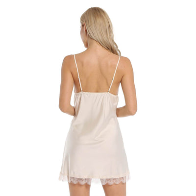 BEL0164-Satin Slip Lace Sleepwear  V-Neck NightDress