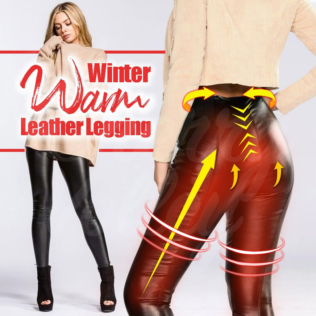 Winter Warm Leather Legging