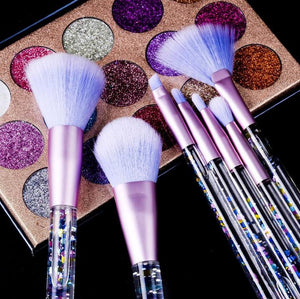 Liquid glitter makeup brushes