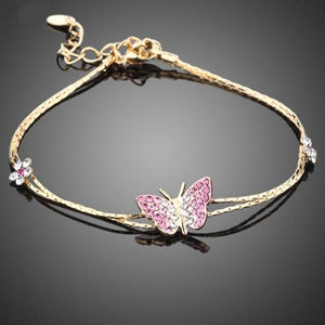 Austrian Crystal Butterfly and Flower Charm Bracelet