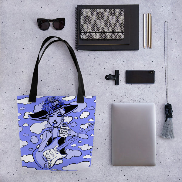 Rock & Roll Glamour Tote Bag - Blue