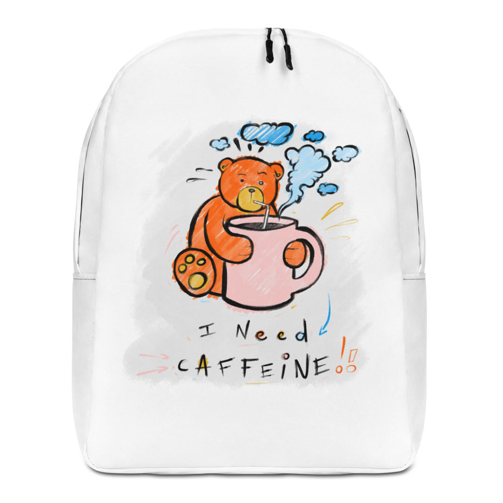 I  Need Caffeine! Max the Teddy Bear Minimalist Backpack