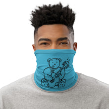 Load image into Gallery viewer, Unisex - One Size Fits All, Washable and Reusable - Quarantine Sessions Max the Teddy Bear Neck Gaiter (Blue)