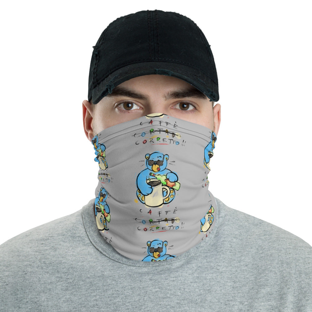 Unisex - One Size Fits All, Washable and Reusable. Cafe Corretto! Max the Teddy Bear Neck Gaiter