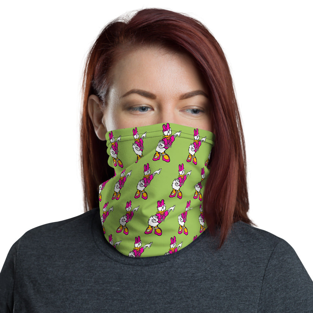Unisex - One Size Fits All, Washable and Reusable - Punk Rock Daisy Washable, Reusable, Neck Gaiter, Design By French Artist Ewen Gur