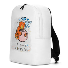 Load image into Gallery viewer, I  Need Caffeine! Max the Teddy Bear Minimalist Backpack