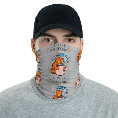 Unisex - One Size Fits All, Washable and Reusable, I Need Caffeine!! Max the Teddy Bear Neck Gaiter