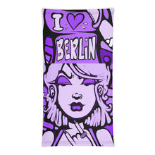 Load image into Gallery viewer, Unisex - One Size Fits All, Washable and Reusable. I Love Berlin! Neck Gaiter (Purple)