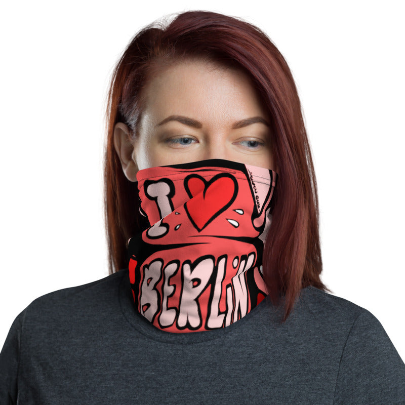 Unisex - One Size Fits All, Washable and Reusable, I Love Berlin! Neck Gaiter (Red)