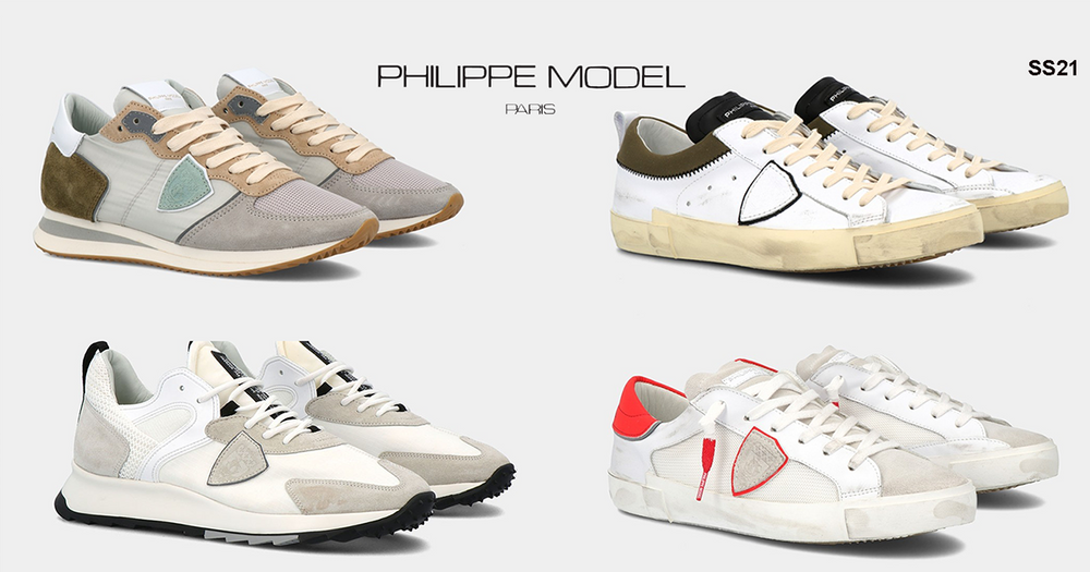 Philippe Model. Sneakers artigianali fatte a mano in pelle personalizzate dal famoso scudetto laterale cucito a mano come simbolo del made in italy.Philippe Model Tropez, Philippe Model Paris e i nuovi modelli Philippe Model Temple e Eze.