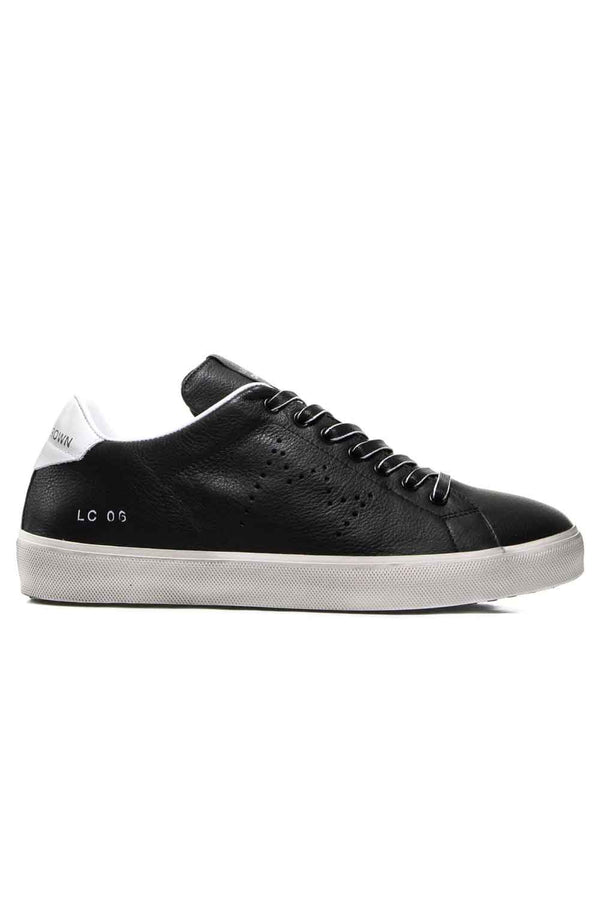 SCARPE LEATHER CROWN IN PELLE NERO CON RETRO BIANCO M_ICONICNERO+BIANCO - Scarpe - LEATHER CROWN  - Manida Shop Online-[variant_SKU]- [product_description]