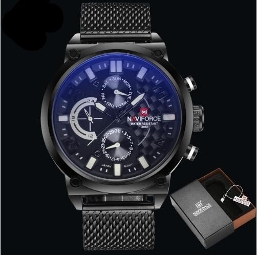 Men's Stainless Steel Quartz Sports Wrist Watch