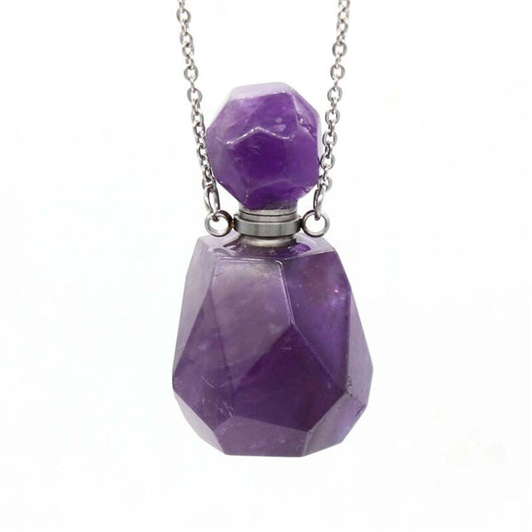 Natural Crystal Hexagonal Perfume Bottle Pendant Necklace