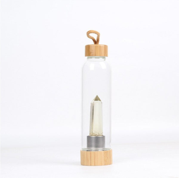 Natural Gem Stone Glass Water Bottle