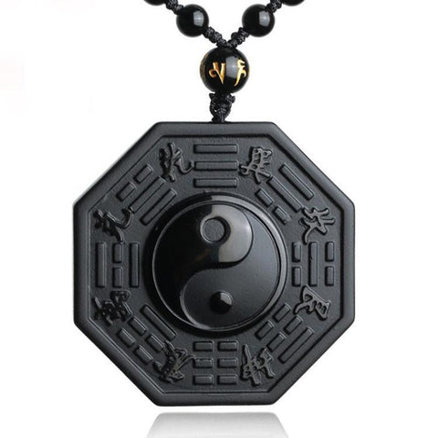 Black Obsidian Yin Yang Pendant Necklace Men and Women