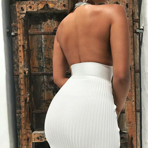 Backless Sexy Knitted Pencil Dress Women White Off Shoulder Long Party Dress