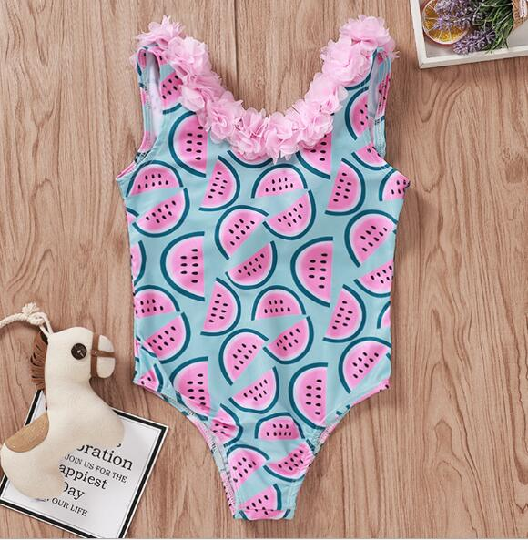 Infant Baby Girls Watermelon Swimsuit One-piece Floral Swimwear Swimming