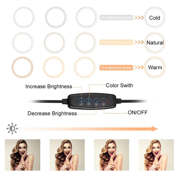 LED Ring Light with Stand Camera Selfie Light for Home Studio Recording
