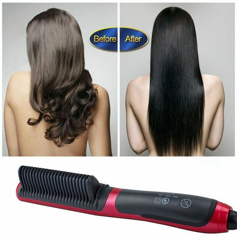 Dual-Purpose Hair Straight Styler Straightener Curler and Comb Stick