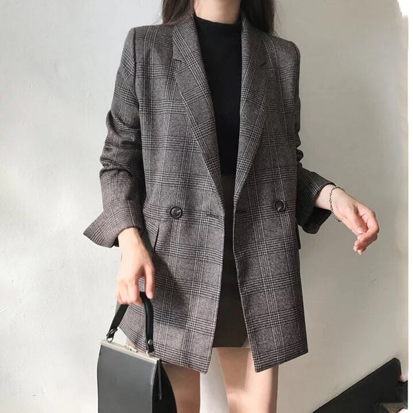 Women's Check Long Sleeve Jacket Casual Vintage Coat Plaid Blazer