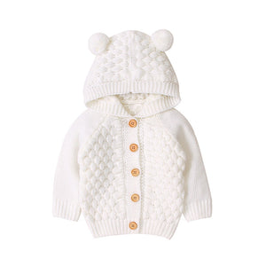 Children's Sweater Fur Ball Hooded Knitted Jacket