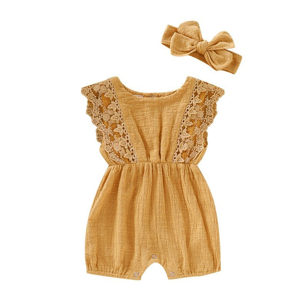 Summer Baby Girl Rompers Baby Headband One Piece