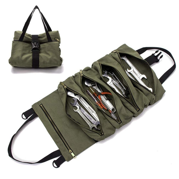 Portable Tool Roll Up Bag Wrench Pouch Bag Garden Tools Carrier Bag