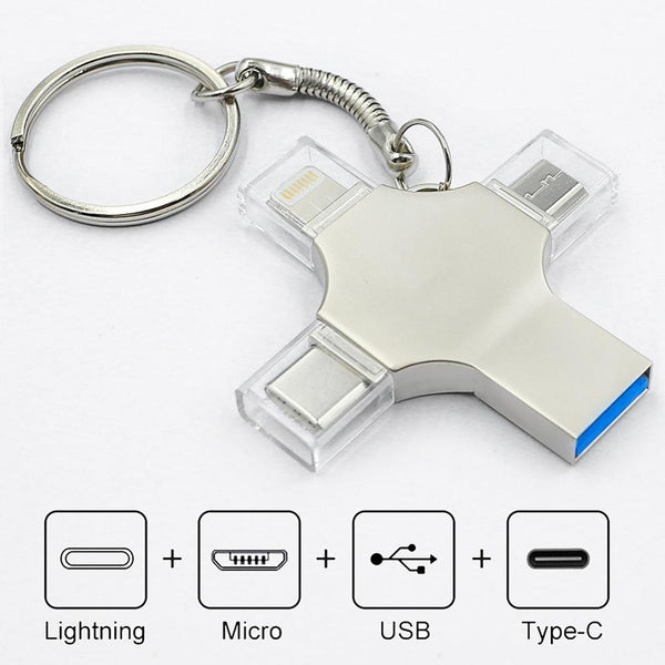 4 in 1 USB Flash Drive 3.0 For iPhone and Android 16gb 32gb 64gb 128gb 256gb