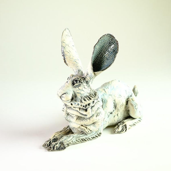 Ceramic Hare Sculpture by Gin Durham.