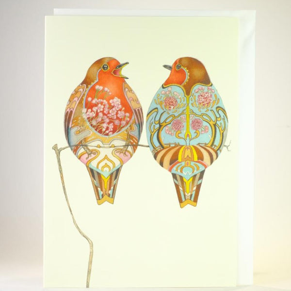 'Two Robins' Blank Greetings Card.