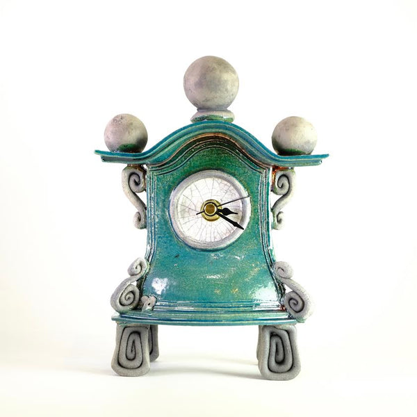 Medium Turquoise  Ceramic Clock by Ian Roberts.