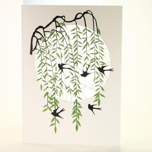 'Black Swallows in the Willows' Laser Cut Blank Card