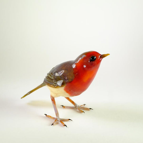 Handmade Glass Robin by Elizabeth Welch.
