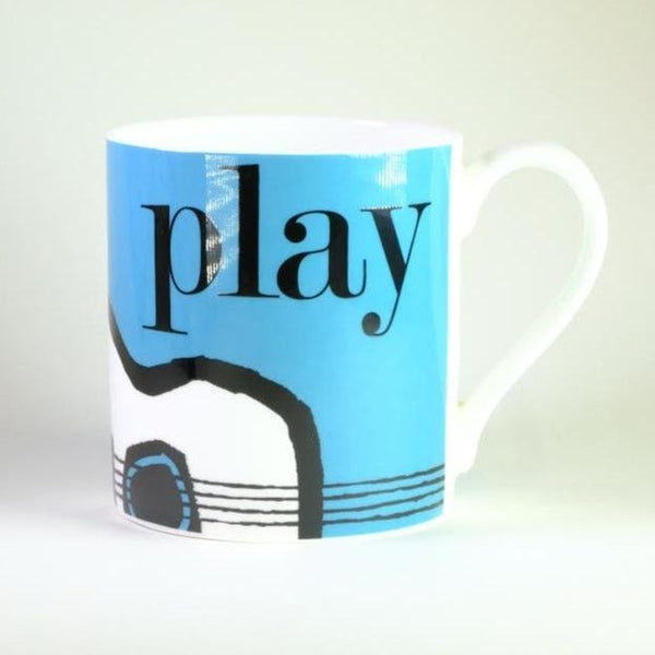 Graphic 'Play' Bone China Mug.