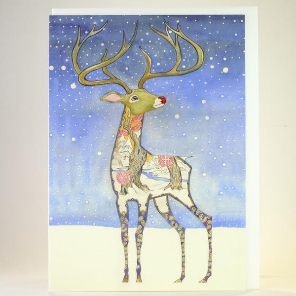 'Rudolph Reindeer' Blank Greetings Card.