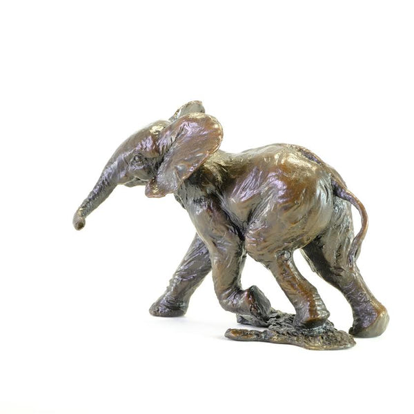 Bronze 'Baby Elephant Running' by Michael Simpson.