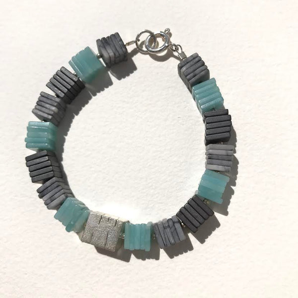 Amazanite, Hematite and Picasso Jasper Beaded Bracelet.