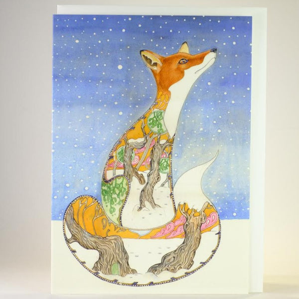 'Fox in the Snow' Blank Greetings Card.