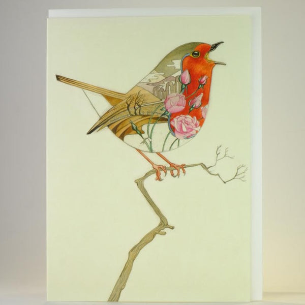 'Robin in a Winter Landscape' Blank Greetings Card.