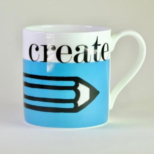 Graphic 'Create' Bone China Mug.