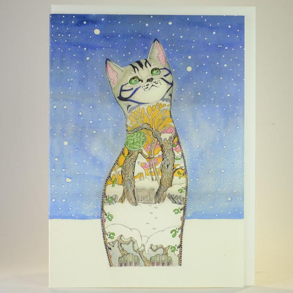 'Cat in the Snow' Blank Greetings Card.