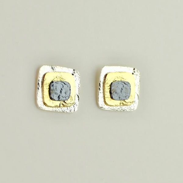 Square Satin Silver and Gold Plated Stud Earrings by JB Designs.