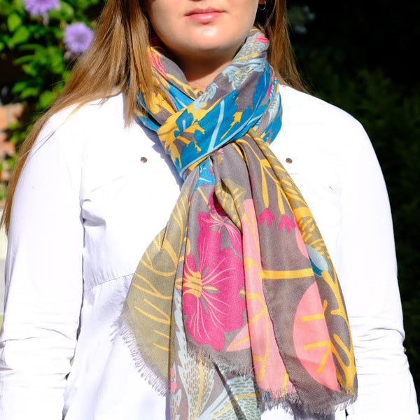 Exotic Floral Design Scarf.
