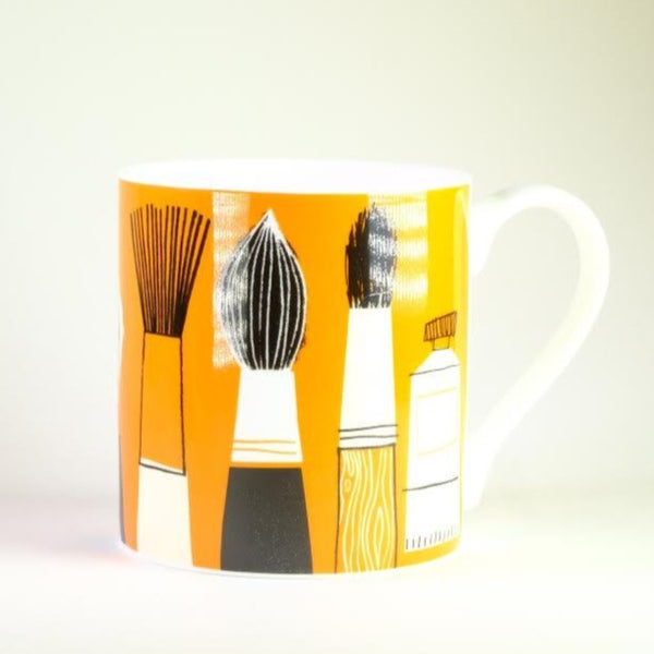 'Paintbrushes' Bone China Mug.