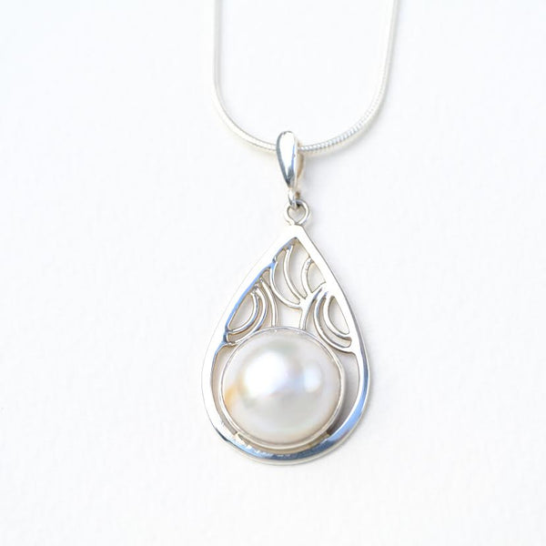 Silver and Mabe Pearl Pendant.