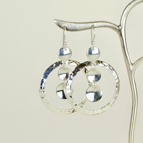 Hammered Silver Disc Drop Earrings.