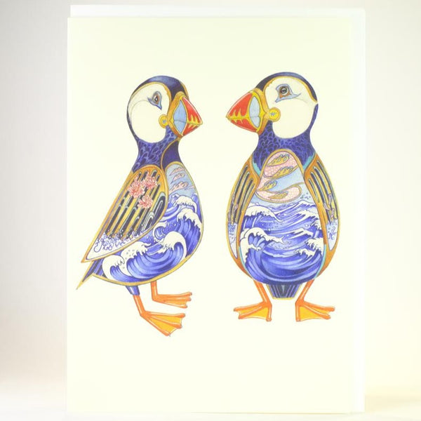 'Puffins' Blank Greetings Card.