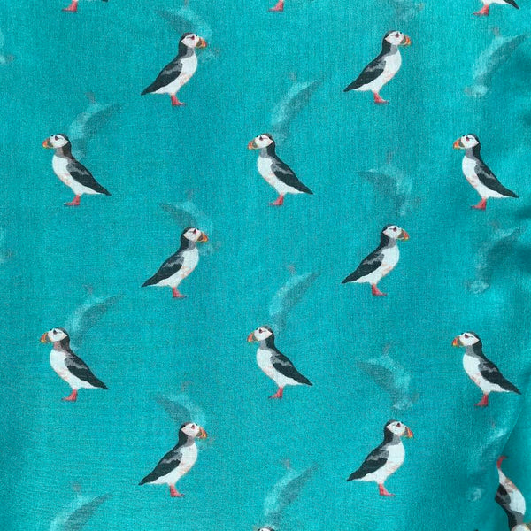 Printed Puffin Design Scarf.